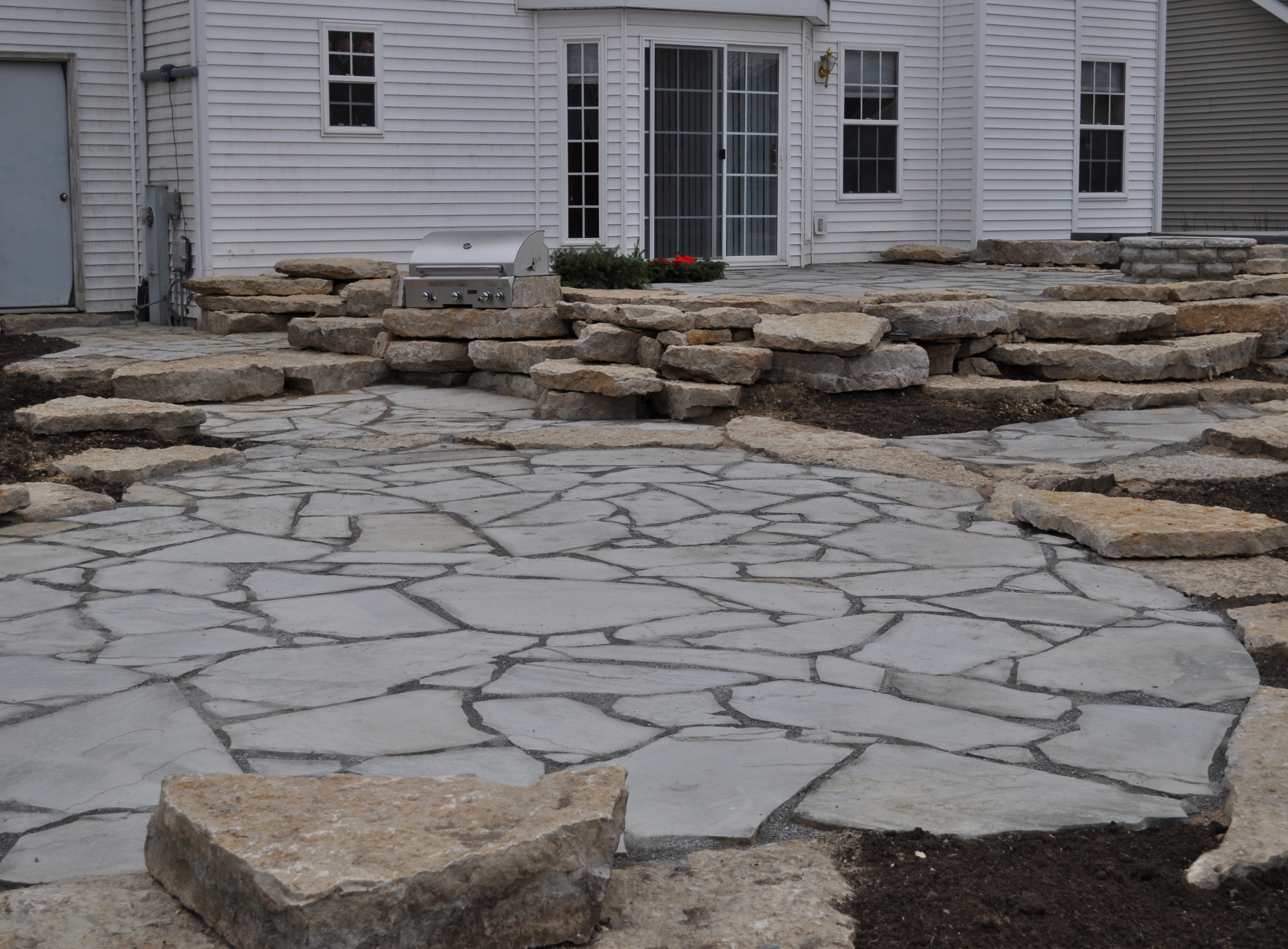 Natural Stone Pavers : Rockford brick paver landscape features